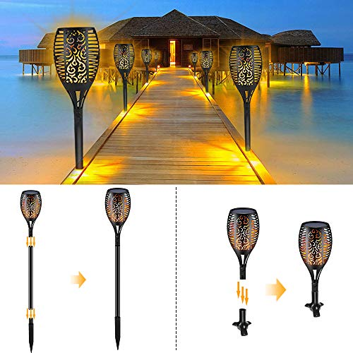 Solar Torch Lights,Waterproof Flickering Flame Torch Lights Outdoor Solar Spotlights Landscape Decoration Lighting Dusk to Dawn Security Path Light for Garden Patio Deck Yard Driveway (4 Pack) by Larkin (Image #4)