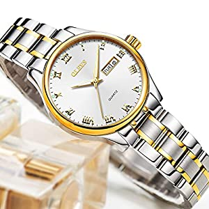 Amazon top Watch, Ladies Watch with Date Calendar,Day and Date Watch for Women,Stainless Steel Ladies Watches Roman Numeral Wristwatch,Lady Dress Analog Quartz Watch