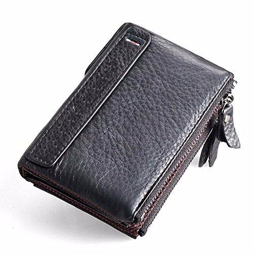 wallet double black leather zipper multi purpose soft Short retro man man wallet LIGYM WPBqZUw