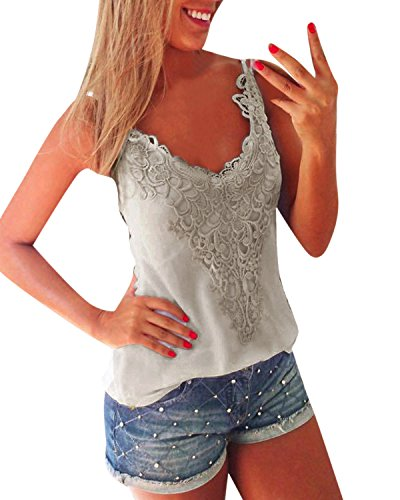 Vest Pattern Crochet - ZANZEA Women's Sexy Sleeveless Lace Croched Tank Tops T Shirt Blouse Camis Vest Gray M=US 8