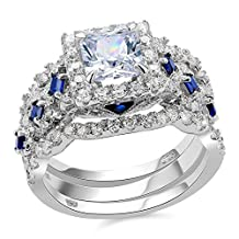 Newshe 3pcs 2.5ct Princess White Cz Blue 925 Sterling Silver Wedding Engagement Ring Set Size 5-10