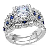 Newshe 3pcs 2.5ct Princess White Cz Blue 925 Sterling Silver Wedding Engagement Ring Set Size 7
