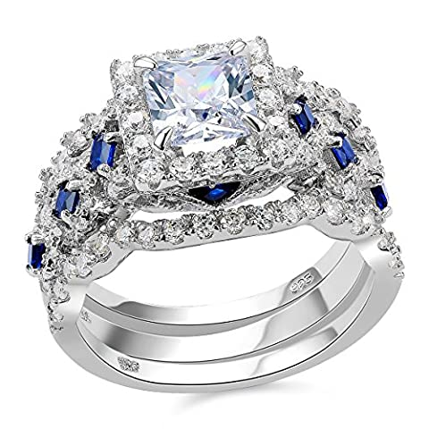 Newshe 3pcs 2.5ct Princess White Cz Blue 925 Sterling Silver Wedding Engagement Ring Set Size 5 (Promise Ring Size 5 White Gold)