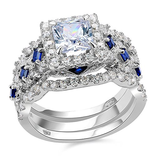 Newshe Engagement Wedding Ring Set 925 Sterling Silver 3pcs 2.5ct Princess White Cz Blue Size 5