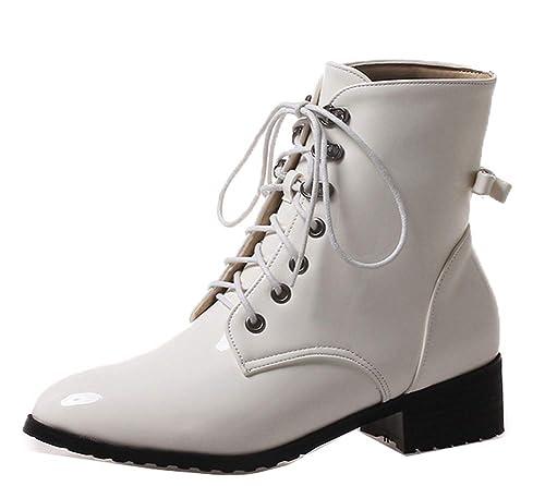 Easemax Femme Fashion Petit Talon Chaussure Montante à Lacets Bottines  Blanc 32 EU 74bbe2e084f3