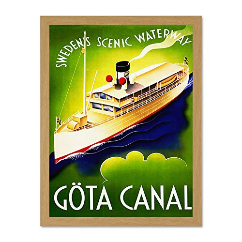 Doppelganger33 LTD Travel Gota Canal Gothenburg Sweden Boat Ship Scenic Large Framed Art Print Poster Wall Decor 18x24 inch Supplied Ready to Hang