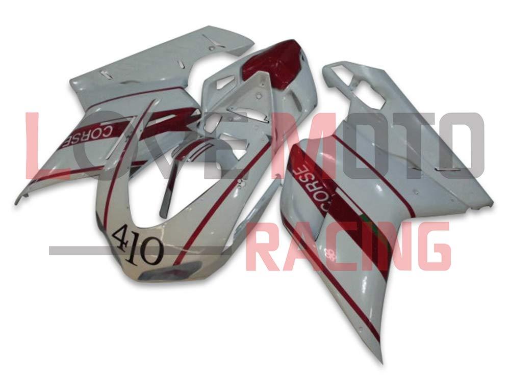 LoveMoto ブルー/イエローフェアリング デュカティ ducati 1098 848 1198 2007 2008 2009 2010 2011 2012 07-12 ABS射出成型プラスチックオートバイフェアリングセットのキット ホワイト レッド   B07KQ4VYMG