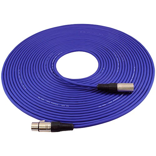 GLS Audio 50ft Mic Cable Patch Cord - XLR Male to XLR Female Purple Microphone Cable - 50 Balanced Mike Snake Cord