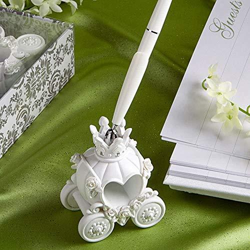 Dingq Fashion Wedding Pen with Elegent Pumpkin Carriage Pen Stand Excellent Wedding Supplies