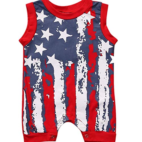 (Newborn Infant Baby Boy Girl American Flag Stars and Stripes Romper Clothes Outfit (Red, 0-6 M (70)))