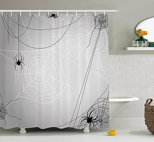 Yomyceo Spider Web Shower Curtain, Spiders Hanging from