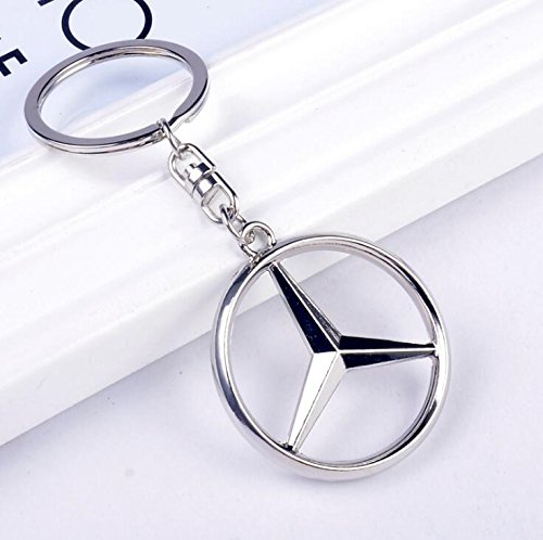 Chrome Metal Key (QZS Mercedes Benz 3D Chrome Metal Keychain Car Logo Keyring, Best For Gifts)