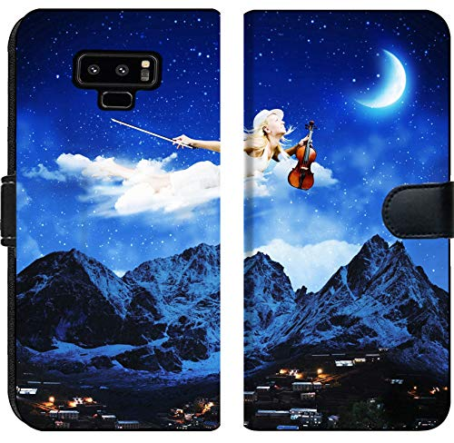 Liili Premium Samsung Galaxy Note9 Flip Micro Fabric Wallet Case Image ID: 25000261 Young Blond Girl Flying in Night Sky