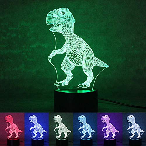 Xmeilo 16 LED Color 3D Illusion Platform Night Lighting Touch Switch Table Desk Decor LED Lamp with Remote Control (Dinosaur)