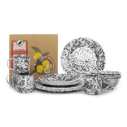 Crow Canyon Home Enamelware Starter Set, 16 pc, Grey & White Marble