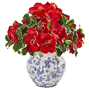 Nearly Natural 1909-RD Amaryllis and Variegated Holly Leaf Artificial Silk Arrangements Red 18