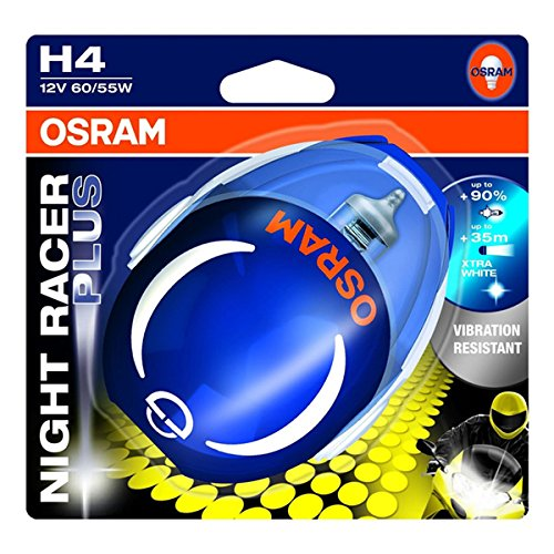 OSRAM NIGHT RACER Plus H4, Motorrad-Scheinwerferlampe, 64193NRP-02B, Doppelblister
