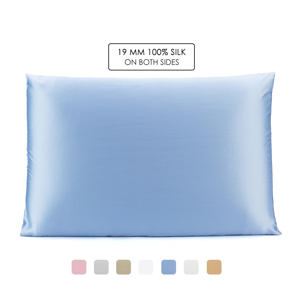 OleSilk 100% Mulbery Silk Pillowcase with Hidden Zipper for Hair and Skin Beauty,Both Sides 19mm Charmeuse Gift Box - Light Blue, Toddler
