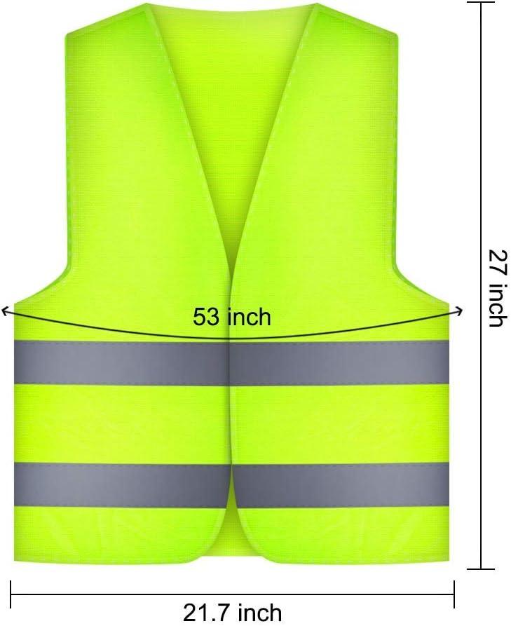 TOOGOO 4 St/ück Warnwesten Auto Pannenweste Warnweste,Sicherheitswarnweste En 471 Mit 360 Grad Reflektierende Streifen Und Klettverschluss,Standardgr