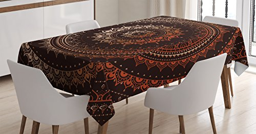 Mandala Decor Tablecloth by Ambesonne, Ancient Enclosing Magic Circle Middle Eastern Egyptian Folk Culture Pattern, Dining Room Kitchen Rectangular Table Cover, 60 X 90 Inches, Brown Orange