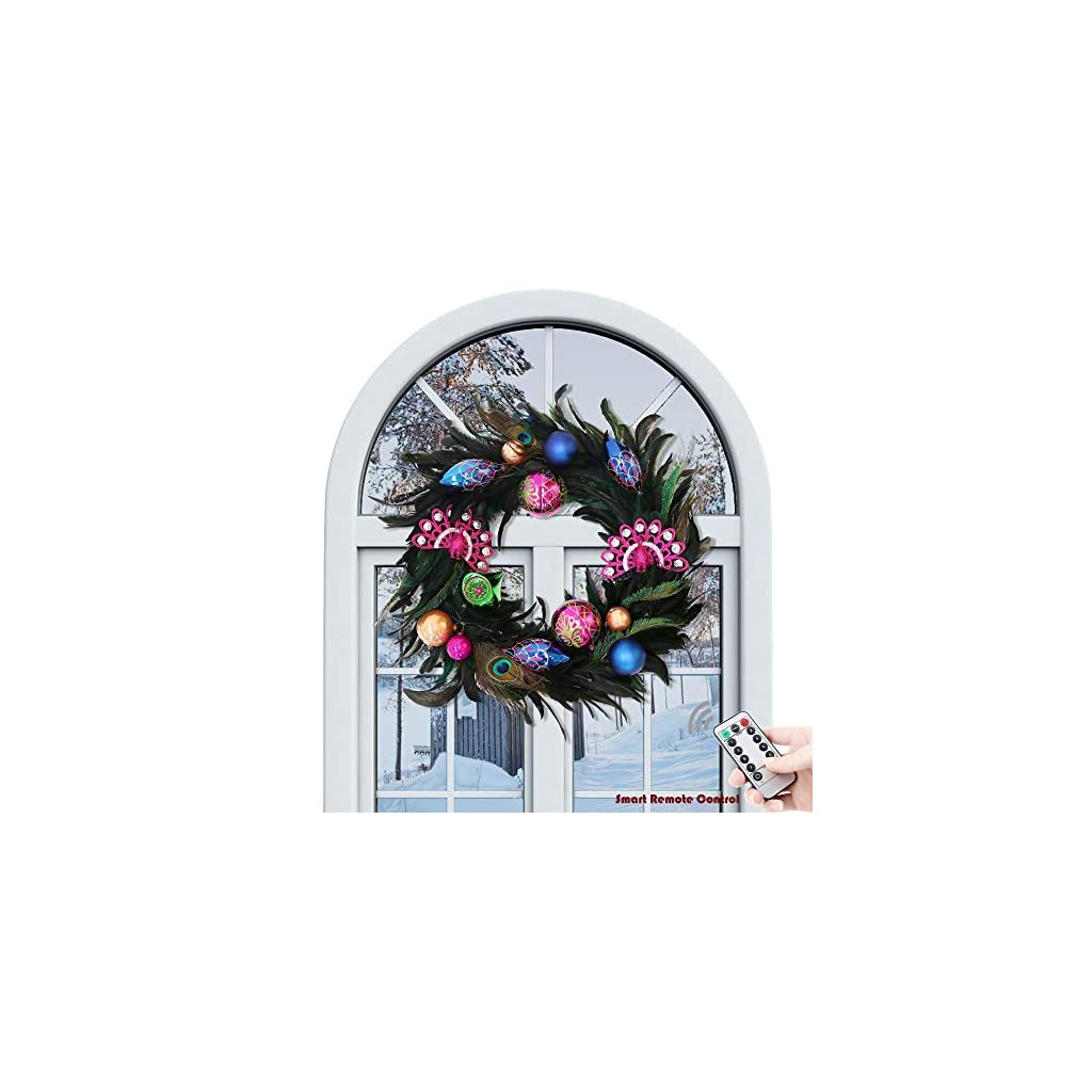 Valery-Madelyn-Woodland-Christmas-Garland-Christmas-Wreath-Floral-Picks-with-Ball-Ornaments-and-Pine-Cone-Battery-Operated-20-LED-Lights