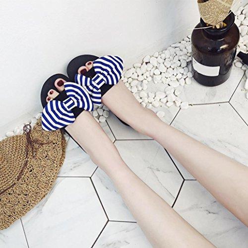 Bleu Femmes Pantoufles de Pantoufles Sandales d'été Pente en air Chaussures Bow Sandales d'intérieur Flip Plage Amuster des intérieure Rondes Flops Fashion Avec Plein BvqdZwpBx