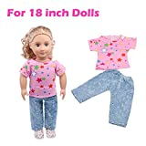 squarex For 18 Inch Doll's Accessories, Summer Clothes Suit For 18 Inch American Girl Doll Accessory Girl's Toy (Pink)