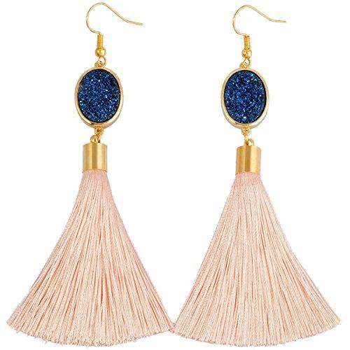 Ladies Blue Thread Royal - SUNYIK Bohemia Crystal Druzy Dangle Earrings for Women,with Thread Tassel,Oval Royal Blue