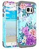 Galaxy S7 Case Samsung S7 Case Peony Floral Girls Women GUAGUA Three Layer Hybrid Hard PC Cover Soft Silicone Anti-scratch Shockproof Full Protective Phone Case for Samsung Galaxy S7 (G930),Mint Green