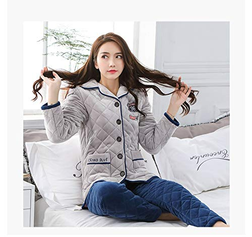 164cm Casual Quilted Pajamas L158 Coral Home Suit Plus Winter Three 47 Warm layer Velvet Service 57kg Female Pajamasx Flannel Thickening CTSXqPwwn