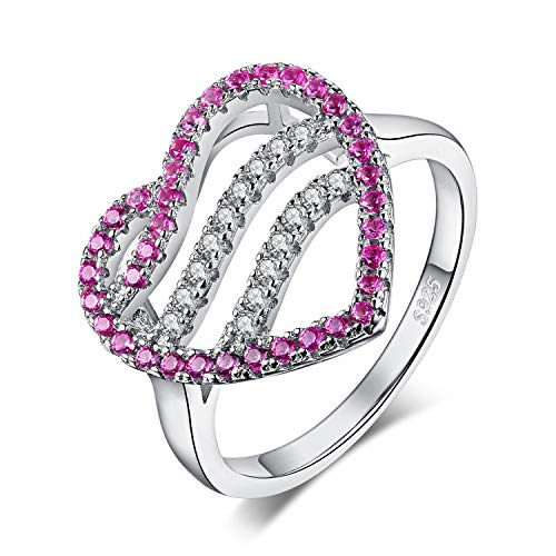 JewelryPalace Created Pink Sapphire Ocean Wave Heart Ring 925 Sterling Silver size ()