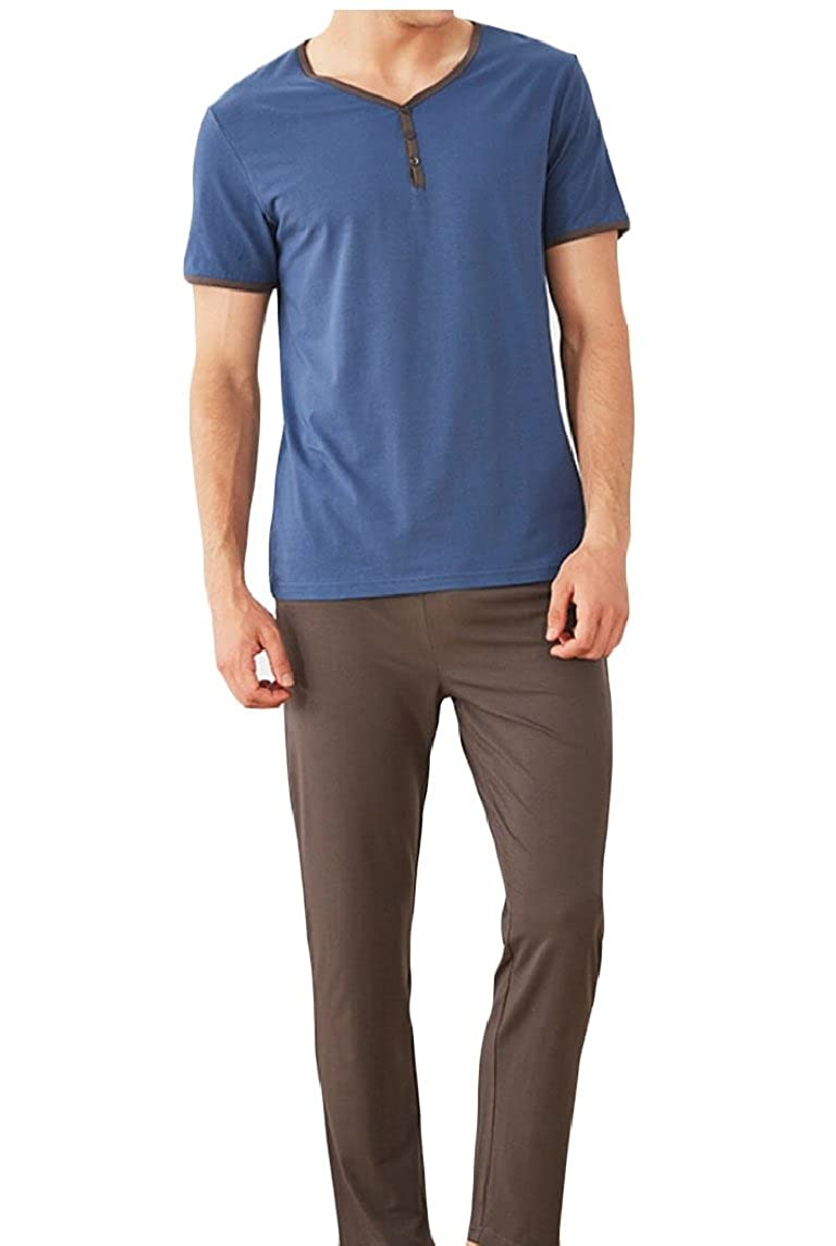 ouxiuli Mens Short Sleeve Tee and Pant 2 Piece Sleepwear Pajama Set