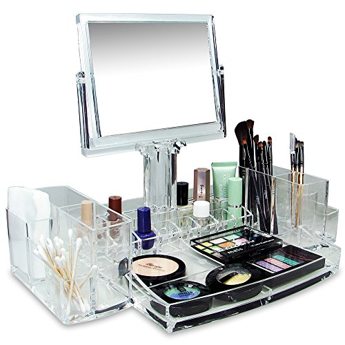 Ikee Design Luxury Cosmetic Makeup Organizer With Two