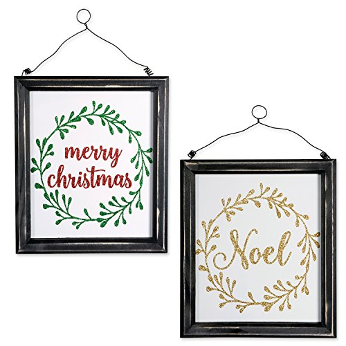DII Indoor/Outdoor Hanging Noel & Merry Christmas Wooden Sign to Celebrate the Holidays, Wooden Wall & Door Decoration - Noel & Merry Christmas, Set of -