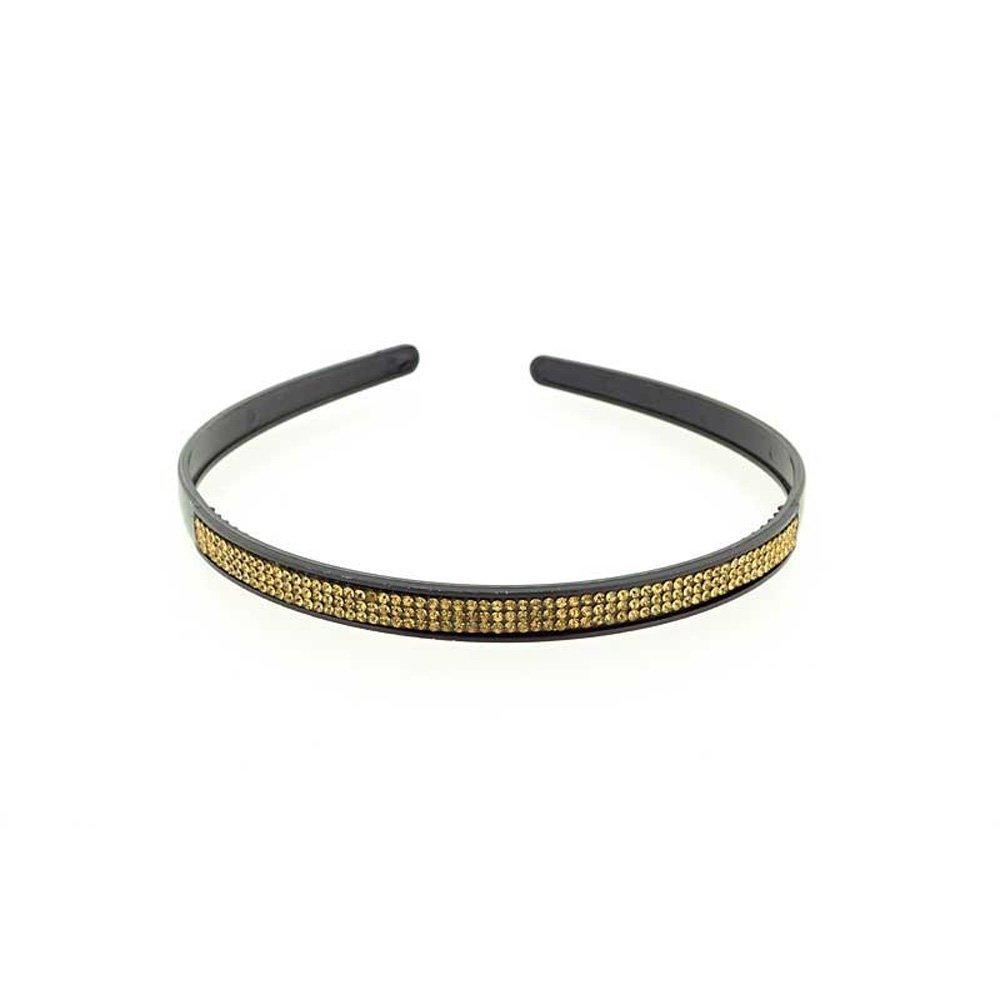 Serre Tete en Acrylique - Noir Orné de Strass Doré - 10mm - Accessoire Coiffure Cheveux Femme