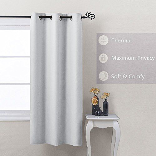 Nicetown Window Treatment Thermal Insulated Grommet Room Darkenining Curtain / Drape For Bedroom (Single Panel,42 by 63,Platinum)