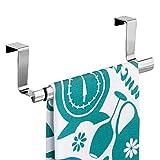 #9: mDesign MetroDecor Over-the-Cabinet Expandable Kitchen Dish Towel Bar Holder,Chrome