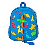 Childrens School Backpack Dinosaur, Jenuther Waterproof Lightweight Blue Daypack for Preschool Toddler Baby Girls Boys Kids with Walking Leash Strap and Chest Buckle (Darkblue-Dinosaur)
