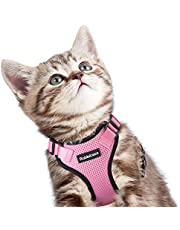 Rabbitgoo Cat Harness Escape Proof Small Dog Vest Harnesses, Adjustable Soft Mesh Kitty Harness for All Weather Walking, Padded Vest with Metal Leash Clip for Small Pets Puppies Kittens Rabbits, Pink