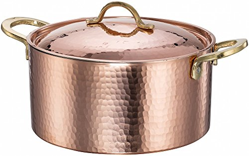 Cookware Hammered Copper (New DEMMEX 1.2MM Thick Hammered Copper Soup Pot Stew Pan Casserole, 3.4 Quart (3.4 Quart))