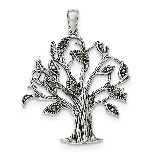 ICE CARATS 925 Sterling Silver Oxidized Marcasite Tree Pendant Charm Necklace Gemstone Fine Jewelry Gift Set For Women (Marcasite Set Necklace)