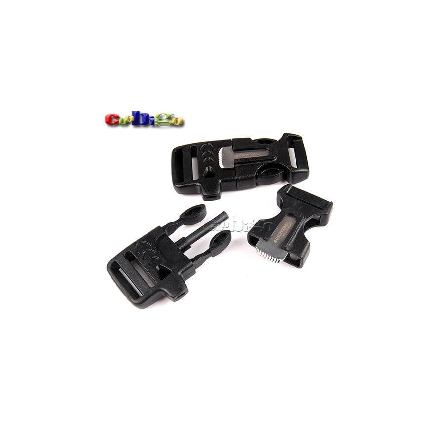 "10Pcs 3/4"" (19mm) Fire Starter Survival Whistle Buckle Flint Scraper For Paracord Bracelet"