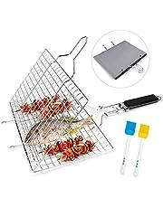 Jhua Portable FishGrillBasket, Stainless Steel BBQ Grill Basket Fish Grilling Basket Folding Barbecue GrillBasket for Vegetables Fish Shrimp with Removable Handle, 2 Basting Brush & Storage Bag