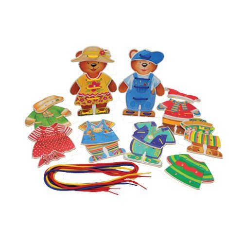 Constructive Playthings PUZ-301 Wooden Lace & Dress Teddy Bears - Lacing Puzzle for Children