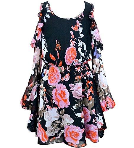 Truly Me, Big Girls Tween Cascading Ruffle Chiffon Dress, 7-16 (7, Pink Multi)