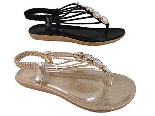 Emma - Zapatos con correa de tobillo mujer dorado