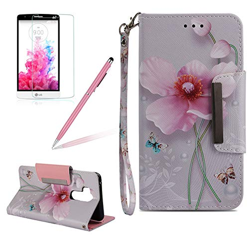 Girlyard Wallet Flip Case for LG G7/G7 ThinQ,Pink Flower Butterflies Colorful Design Card Holder/Slots Folio Magnetic Kicktand PU Leather Protective Phone Case Cover for LG G7/G7 ThinQ
