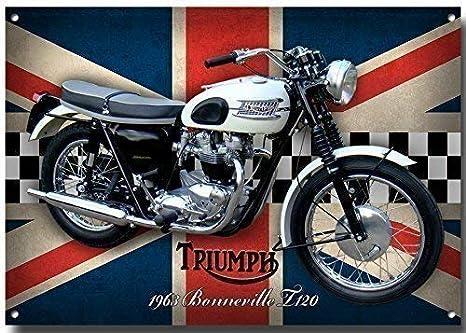 210mm x 285mm x 1mm VINTAGE SIGN DESIGNS Triumph Bonneville T120 Moto Signe M/étal avec Finition /Émaill/é