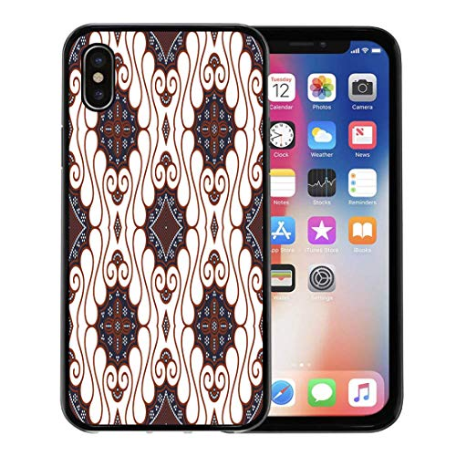 Emvency Phone Case for Apple iPhone Xs Case/iPhone X Case,Abstract Indonesia Brown Batik Pattern Java Clip Culture East Soft Rubber Border Decorative, -