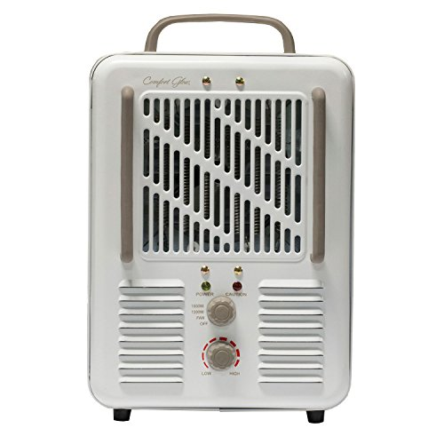 Comfort Glow EUH352 Milk house Style Utility Heater with Grounded Plug in 2-Tone Cream/Chocolate Finish, 1500-watt 1500-Watt Comfort Finish Garage, Shop And Utility Heaters Glow Heater in Plug Style Utility with World Marketing of America